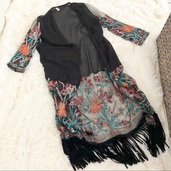 SHEIN Jackets & Blazers - Embroidered Kimono - Shein